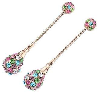 UPCO Jewellery 18K Rose Gold Plated, Teardrop Ball Adorned with Multicolor Crystal Elements, Fashion Dangle Drop Stud Earrings, 48mm X 9mm