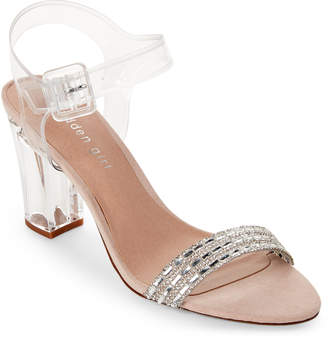 Madden-Girl Clear Trena Embellished PVC Lucite Heel Sandals
