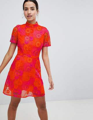 Asos DESIGN Bright Floral Crochet Lace Shift Mini Dress