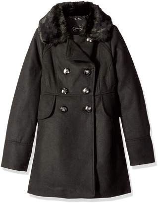 Jessica Simpson Big Girls' Double Breasted Church Coat with Faux Fur Collar