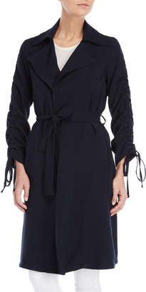 Made In Italy Navy Ruched Arm Belted Trench