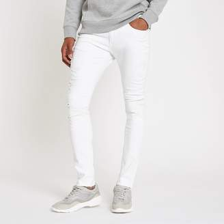River Island Mens White Danny super skinny ripped jeans