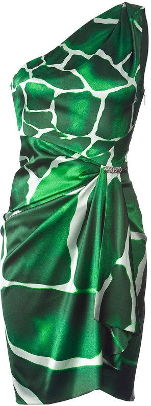 Roberto Cavalli Emerald Green Draped Animal Printed Dress