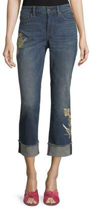 NYDJ Marilyn Floral-Applique Ankle Jeans