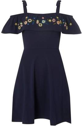 Dorothy Perkins Womens Navy Embroidered Fit and Flare Dress