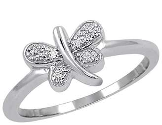 Distributed by Target Women's Sterling Silver Accent Round-Cut White Diamond Pave Set Butterfly Ring - White
