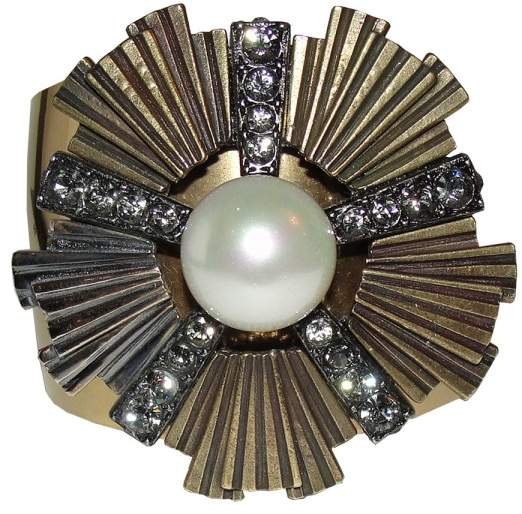 LanvinLanvin 18K Gold Plated Pearl Rhinestone Cuff Bracelet
