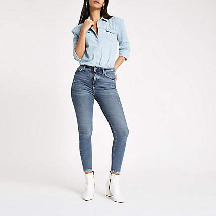 Womens Dark Blue high rise 80s skinny jeans