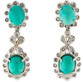 18K Turquoise & Diamond Clip-On Earrings
