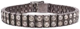Lulu Frost Vintage Art Deco Sterling Silver Double Row Crystal Bracelet