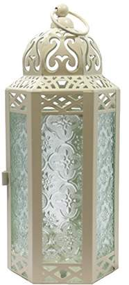 Vela Lanterns Mid-Size Table/Hanging Glass Hexagon Moroccan Candle Lantern Holders - Light Cream