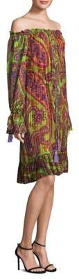 Etro Psych Paisley Off-The-Shoulder Dress