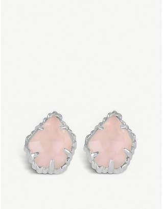 Kendra Scott Tessa rhodium-plated and rose quartz earrings