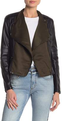 French Connection Faux Leather Sleeve Zip Jacket