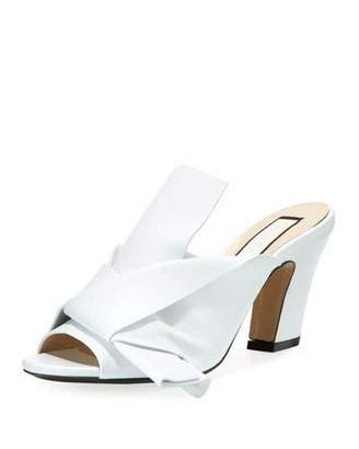 No.21 No. 21 Napa Leather Chunky-Heel Mule Sandal with Bow