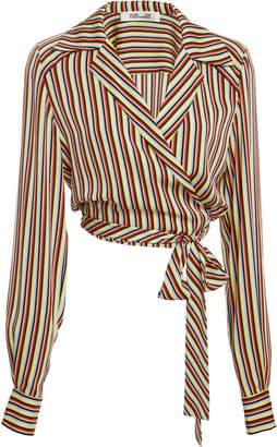 Diane von Furstenberg Long Sleeve Deep V Wrap Blouse