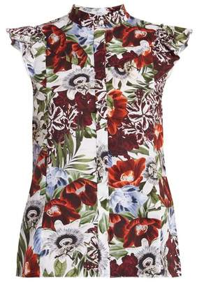 Erdem Orelia Stand Collar Floral Print Cotton Top - Womens - Red Print