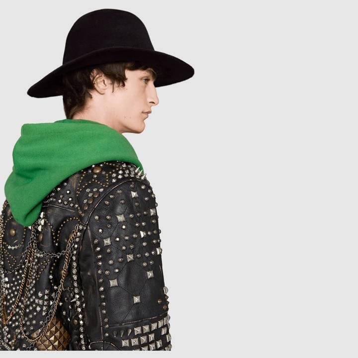 Studded leather biker jacket 7