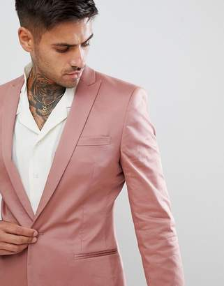 Asos Design Super Skinny Blazer In Dusky Pink Cotton Sateen