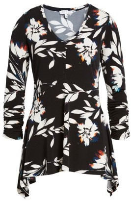 Women's Chaus Floral Vision Ruched Handkerchief Hem Top $59 thestylecure.com