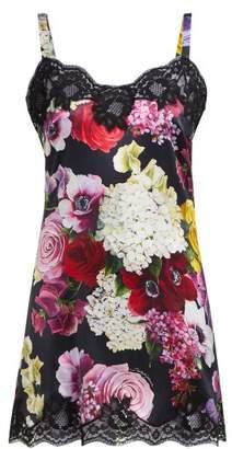 Dolce & Gabbana Floral Print Lace Trimmed Satin Slip Dress - Womens - Black Multi
