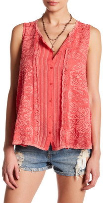 Johnny Was Sleeveless Button Up Embroidered Tank $220 thestylecure.com