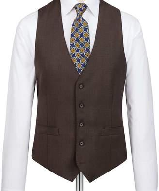 Charles Tyrwhitt Brown slim fit birdseye travel suit waistcoat