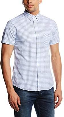 Benetton Men's Patterned Checkered Short Sleeve Casual Shirt