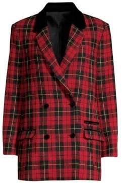 The Kooples Plaid Velvet Blazer