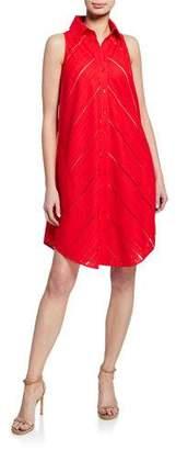 Finley Shelly Eyelet Sleeveless Dress w/ Mesh Slip & Button-Back