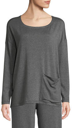 Eileen Fisher Long-Sleeve Pocket-Front Terry Top, Plus Size