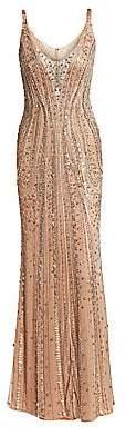Jenny Packham Women's Beaded Tulle Sleeveless Gown