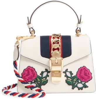 Gucci Mini Sylvie Embroidered Floral Leather Shoulder Bag