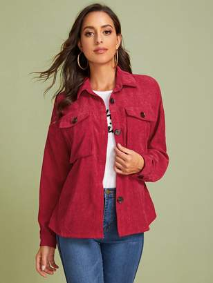 Shein Button Front Flap Pocket Detail Corduroy Coat