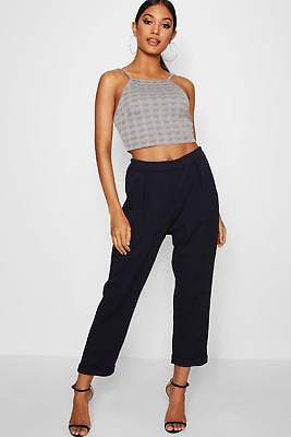 boohoo NEW Womens Tapered Trouser in Polyester 5% elastane