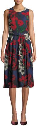 Samantha Sung Rachael Crewneck Sleeveless Poppy-Print Dress