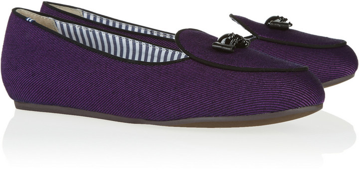 Charles Philip Shanghai Embellished cotton-twill slippers
