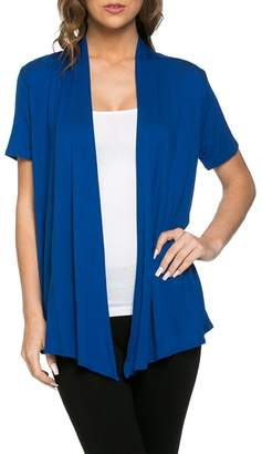 Ami 12 Basic Solid Short Sleeve Open Front Cardigan