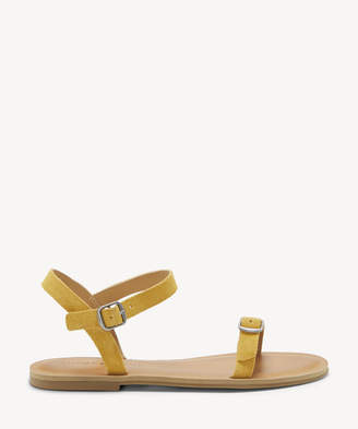 Lucky Brand Women's Adymaris Ankle Strap Flat Sandals Saffron Size 5 Suede From Sole Society