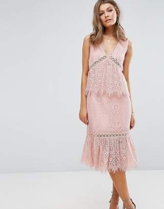 Foxiedox V Neck Lace Ruffle Midi Dress