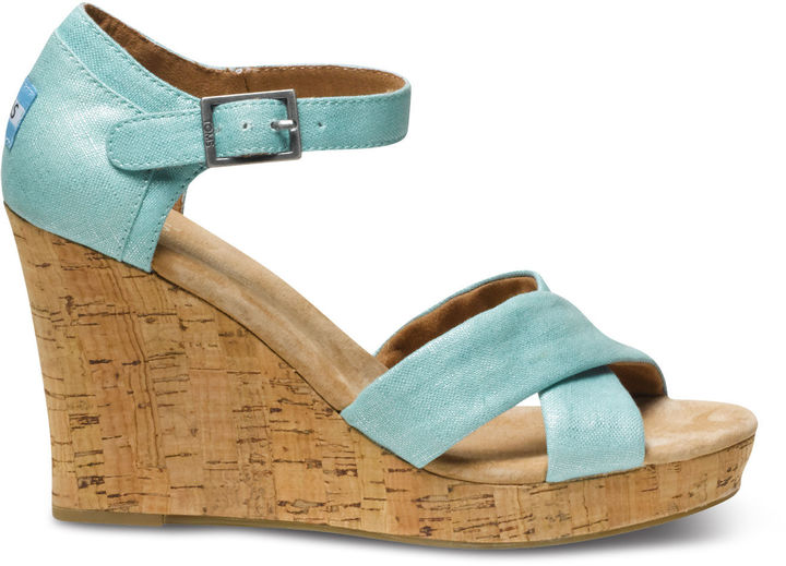 Toms Turquoise Metallic Linen Strappy Wedges