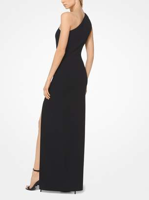 Michael Kors Double-Face Wool-Crepe Slashed Asymmetrical Gown