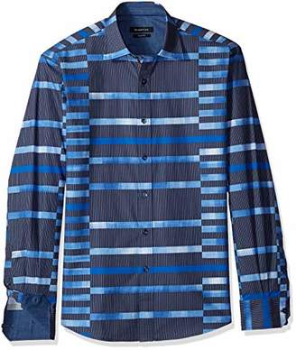 Bugatchi Men's Fitted Long Sleeve Point Collar Button Down Woven Shirt