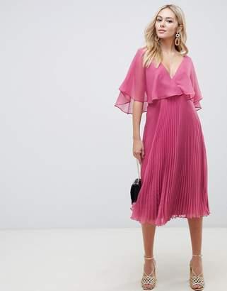 6b227c405d Asos Design DESIGN flutter sleeve midi dress with pleat skirt