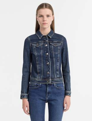 Calvin Klein fitted denim trucker jacket