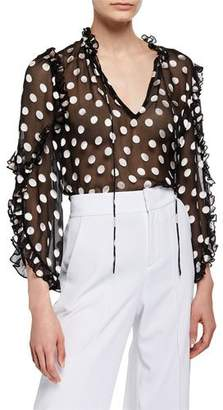Alice + Olivia Julius Sheer Polka-Dot Ruffle-Sleeve Tunic Top