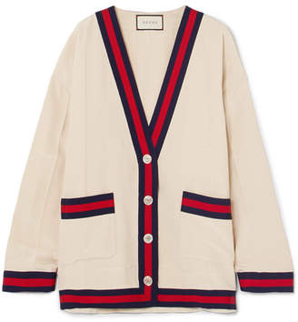 Gucci Oversized Grosgrain-trimmed Silk Crepe De Chine Cardigan - White