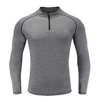 RADHYPE Men Polyester Classic Fit Long Sleeve Athletic Zip Tshirt Training Top XL
