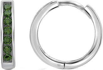 FINE JEWELRY 1/2 CT. T.W. Color-Enhanced Green Diamond Sterling Silver Hoop Earrings