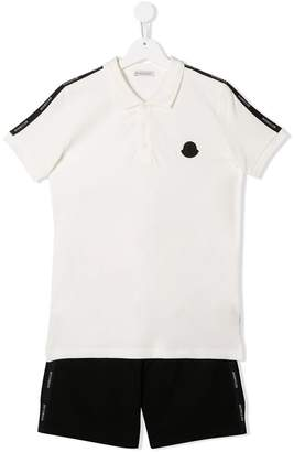 Moncler TEEN side panelled polo shirt and shorts set